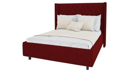 Кровать с декоративными гвоздиками Wing 180х200 Велюр Красный Р