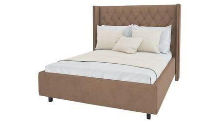 Кровать с декоративными гвоздиками Wing 200х200 Велюр Светло-коричневый Р