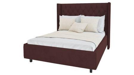 Кровать с декоративными гвоздиками Wing 200х200 Велюр Коричневый Р