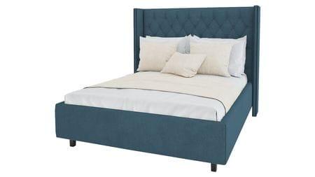 Кровать с декоративными гвоздиками Wing 200х200 Велюр Морская волна Р