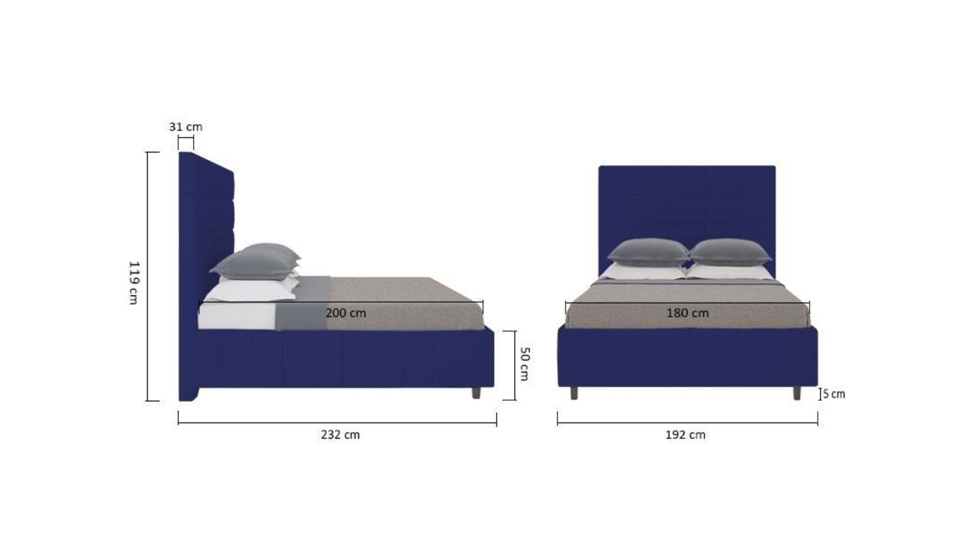 Кровать Shining Modern 180х200 Велюр Синий Р