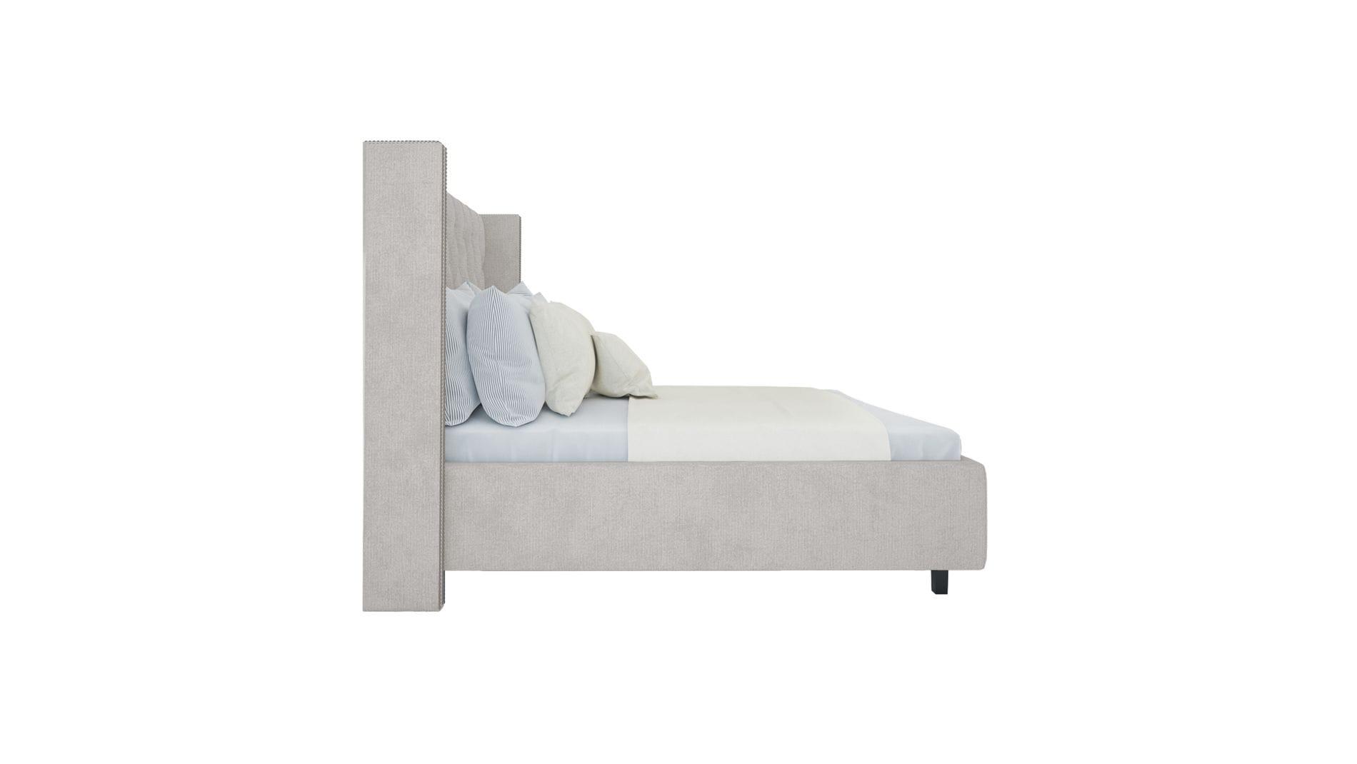 Кровать с декоративными гвоздиками Wing 180х200 Лён Молочный Р