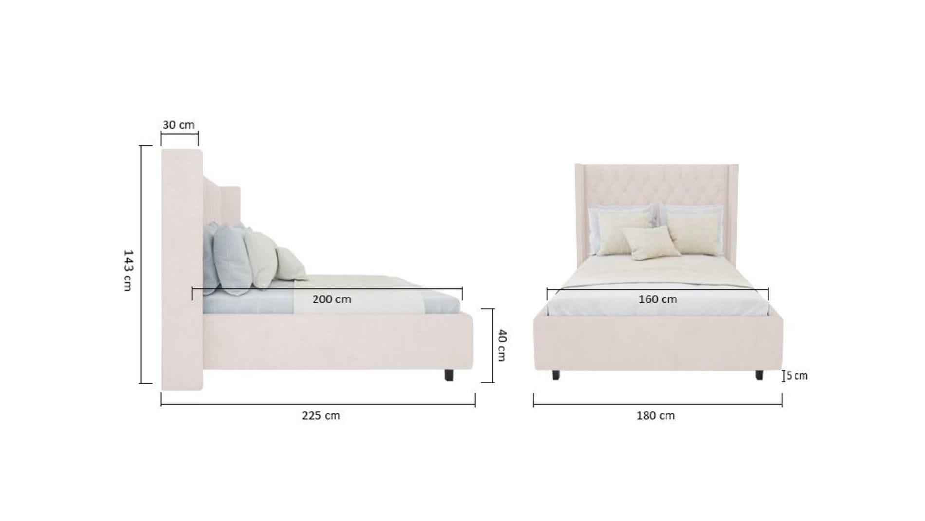 Кровать Wing-2 160х200 Велюр Светло-бежевый Р