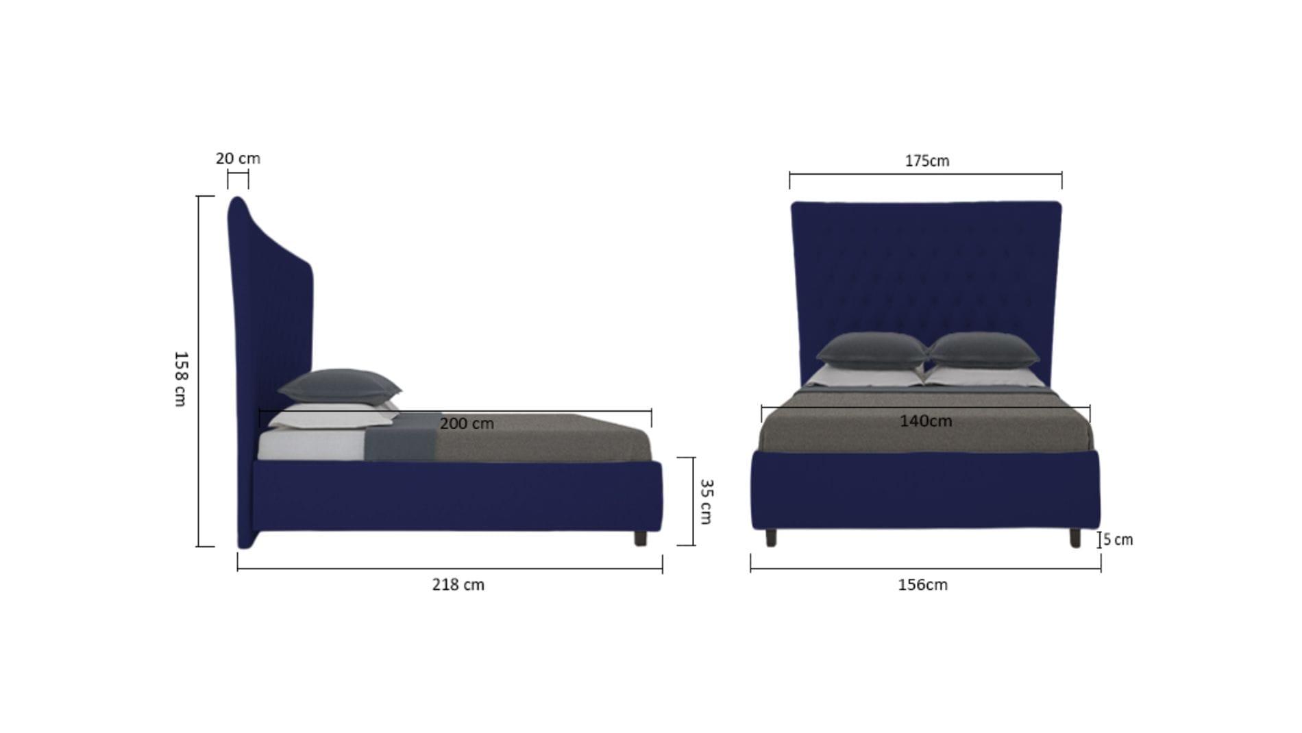 Кровать QuickSand 140х200 Велюр Синий Р
