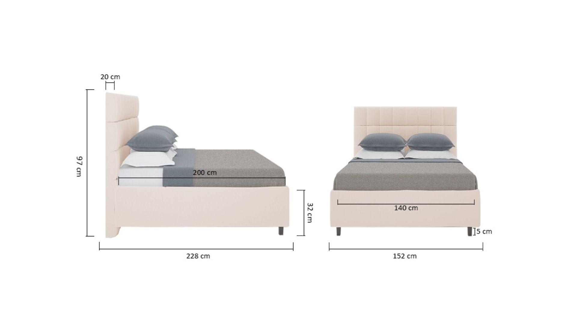 Кровать Wales 140х200 Велюр Светло-бежевый Р