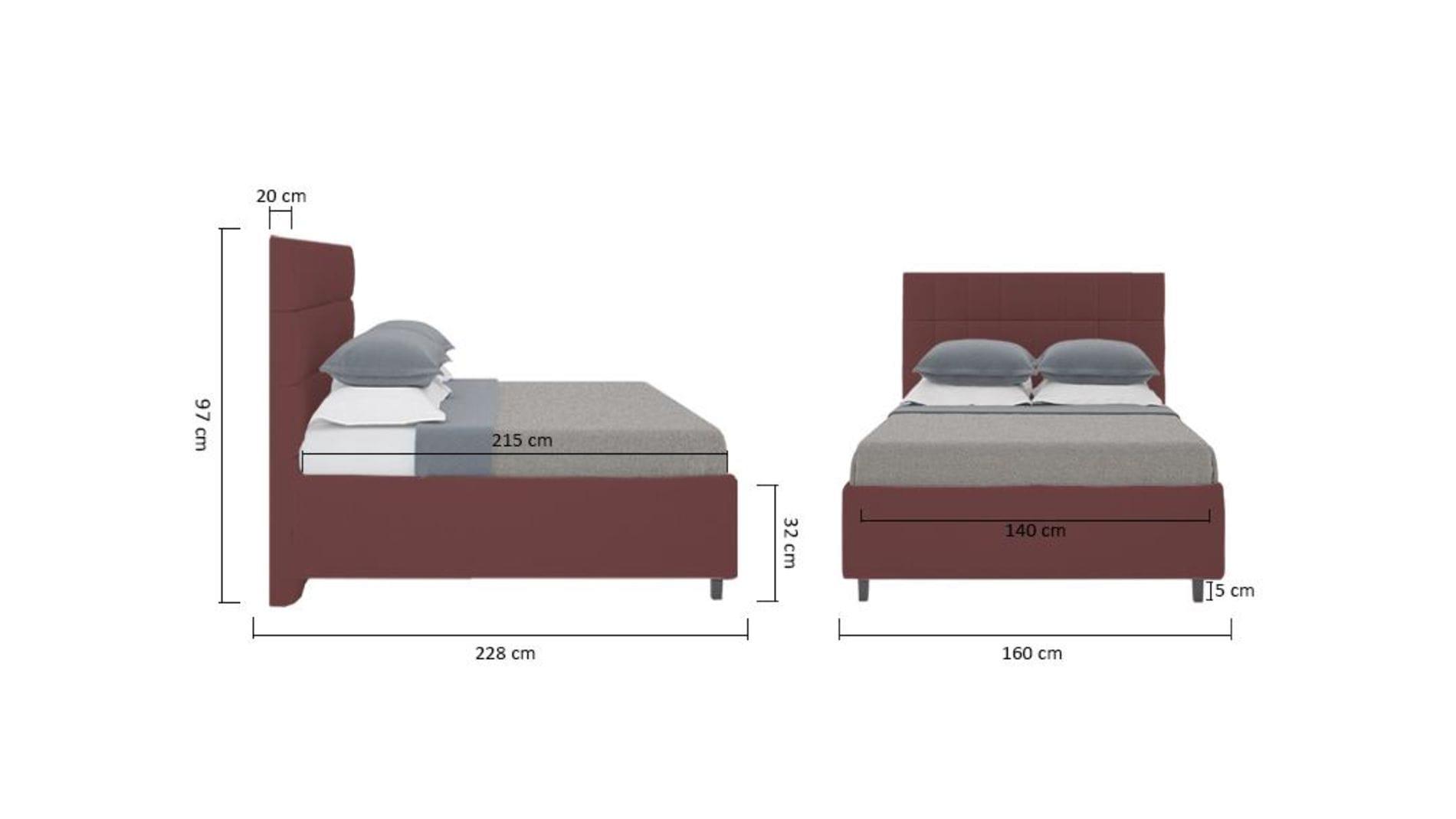 Кровать Wales 140х200 Велюр Коричневый Р