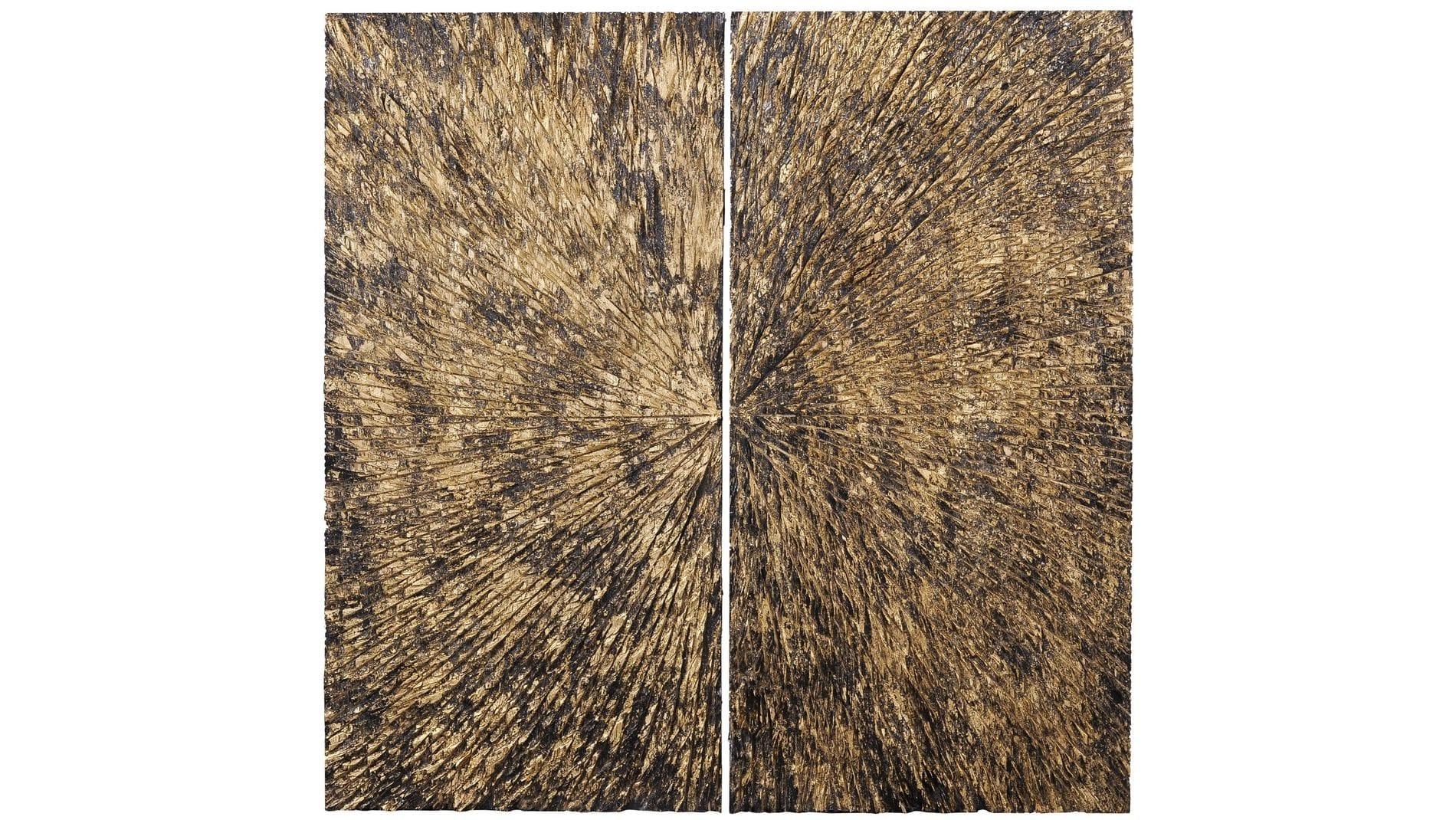 """Настенное панно """" Вселенная 2 черная с золотом """" 90*90 см."""