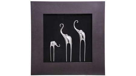 """Панно для декорирования стен """" Три слона(рама венге) """" 60*60 см."""