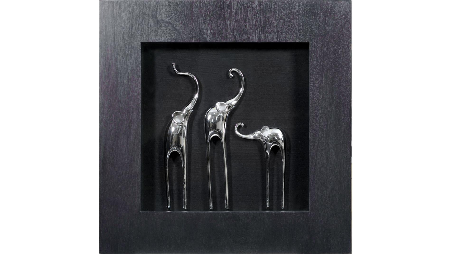 """Панно для декорирования стен """" Три слона 2 (Черная) """" 60*60 см."""