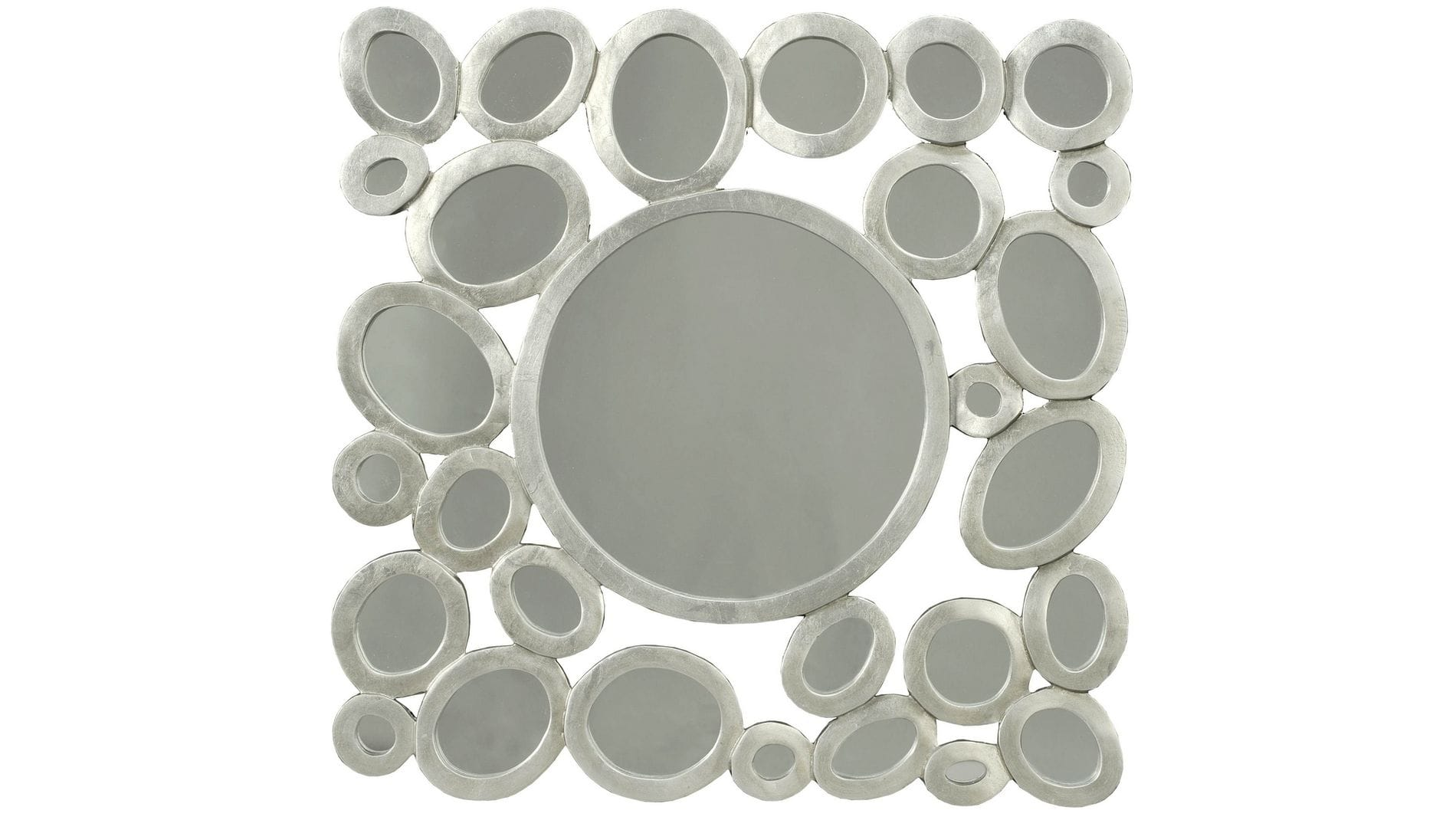 """Панно на стену """" Кольца с зеркалами квадрат """" 80*80 см."""