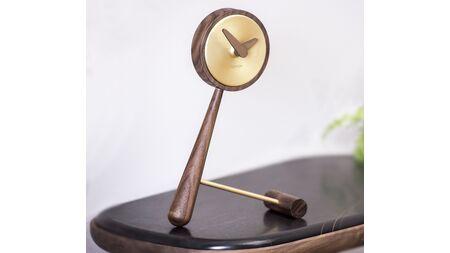 Часы Nomon Puntero Mini Gold, латунь/дерево, 26 x 18cm