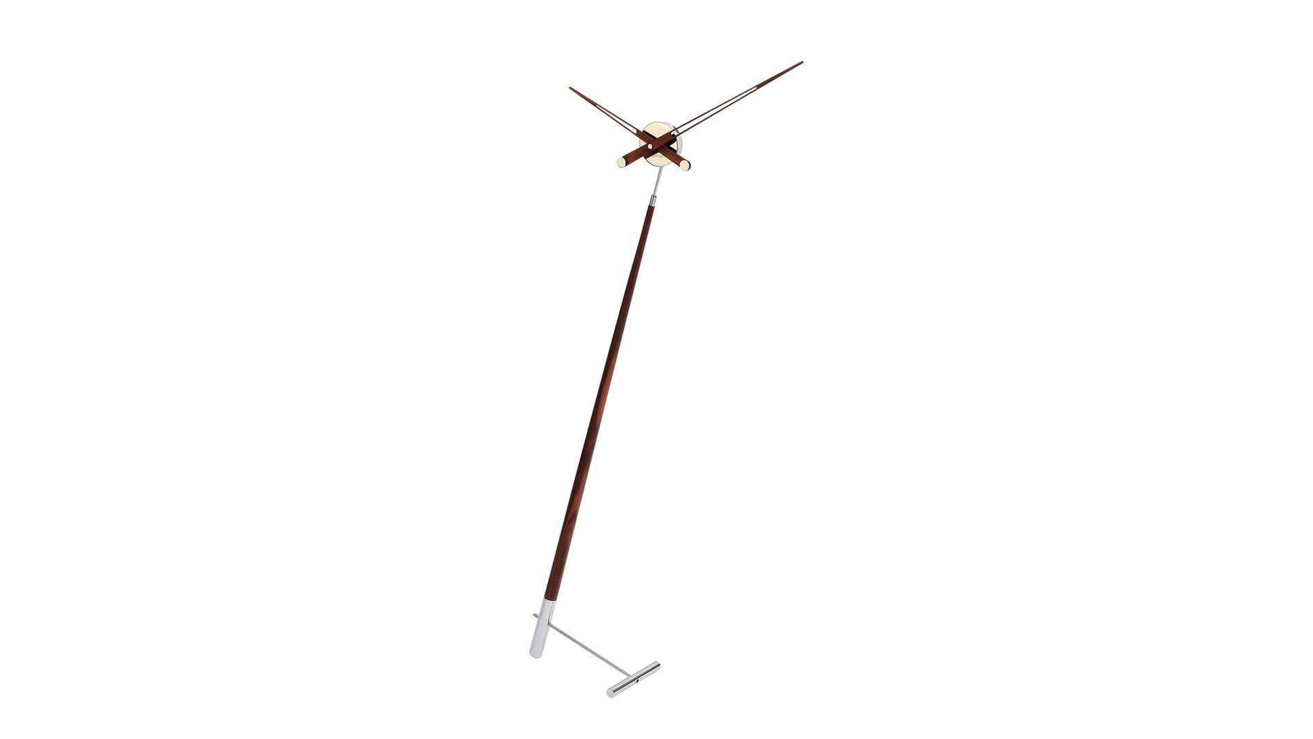 """Часы Nomon Pisa N, хромированная сталь/дерево""""орех"""", d=73 см, h=150cm"""