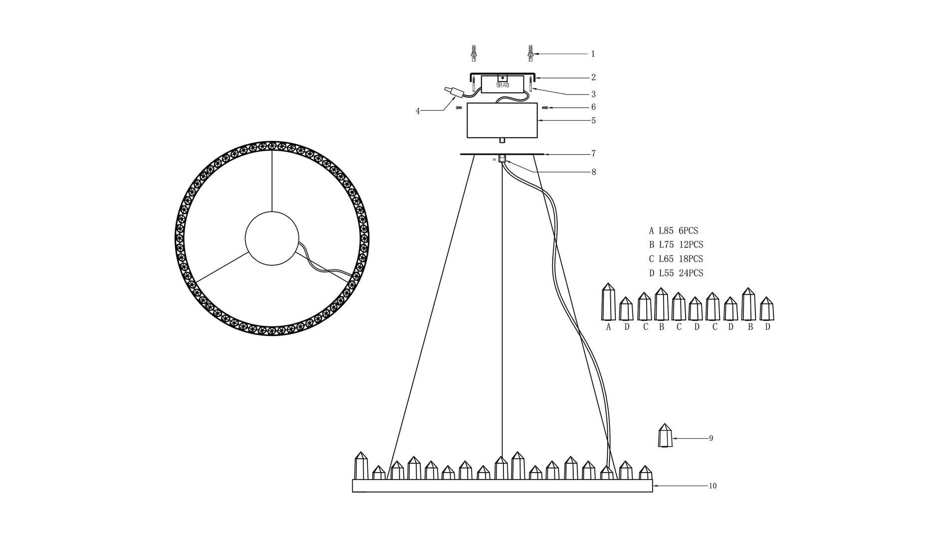 Подвесной светильник Ice Round диаметр 65