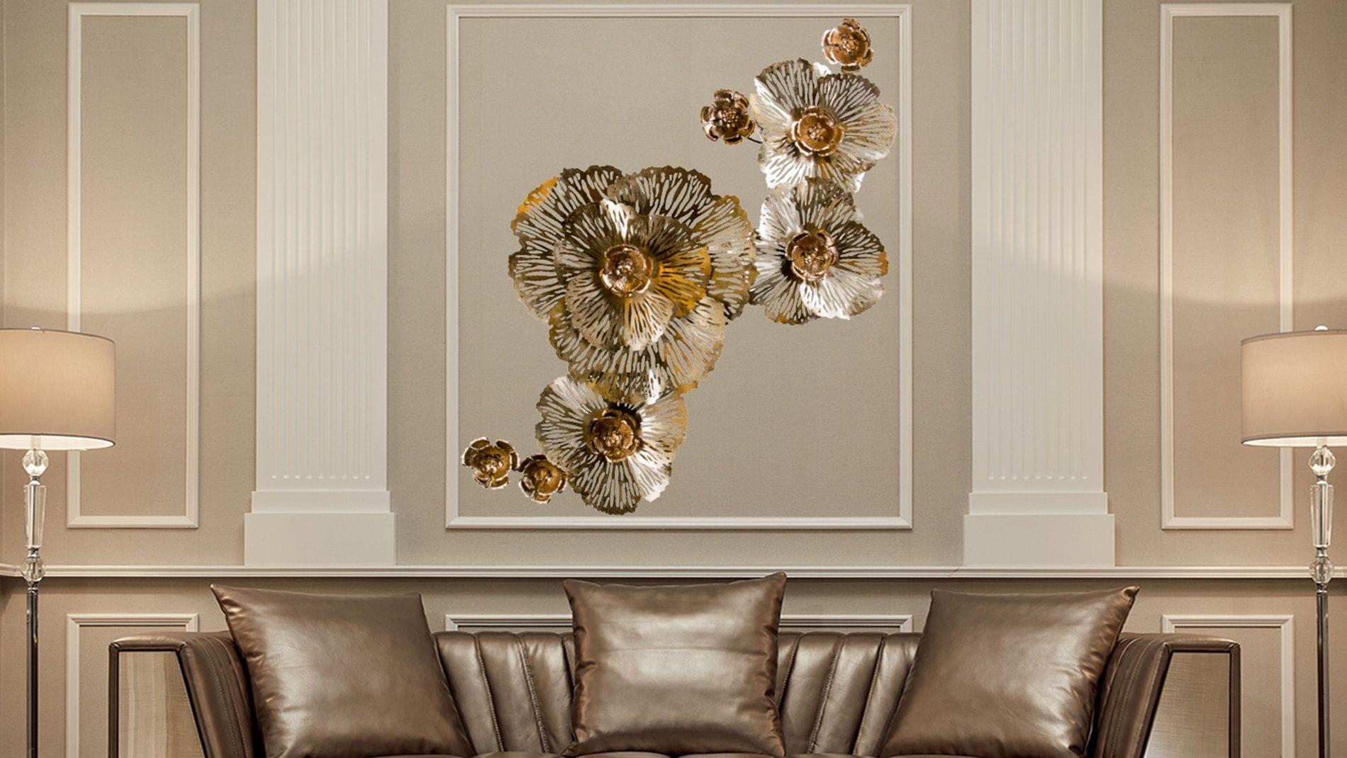 Настенное панно из металла золотые цветы 185*102 см.