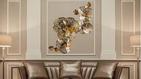 Настенное панно из металла золотые цветы 185х102 см