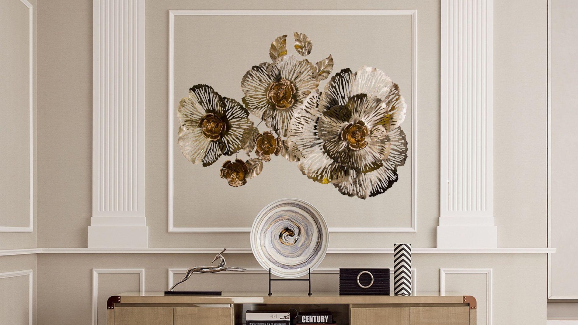 Панно на стену из металла 3 в 1 3 золотых цветка