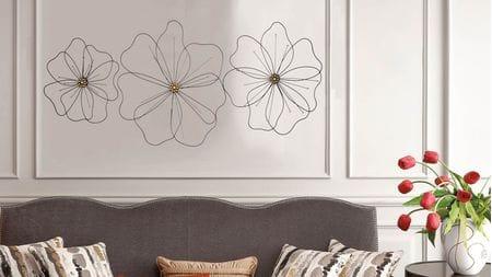 Панно на стену из металла 3 в 1 black flowers / чёрные цветы