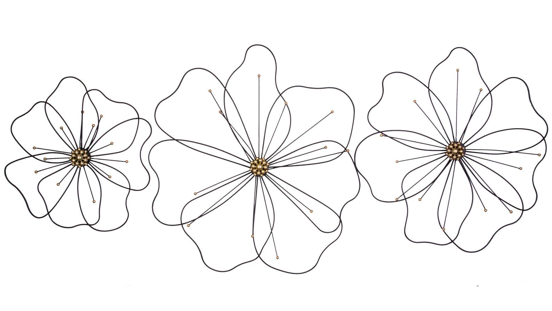 """Панно на стену  из металла 3 в 1 """"black flowers / чёрные цветы"""""""