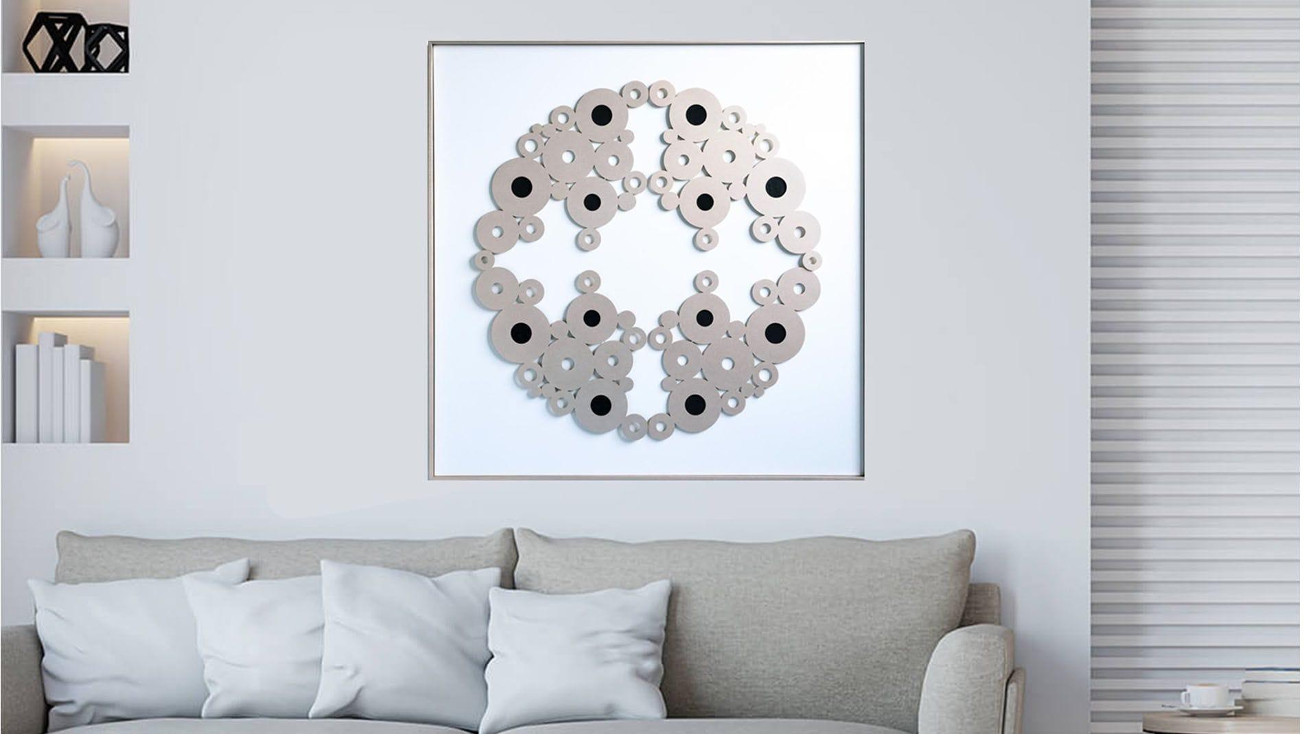 """Панно-картина на стену """"OVAL WHITE"""" 112*112 см."""