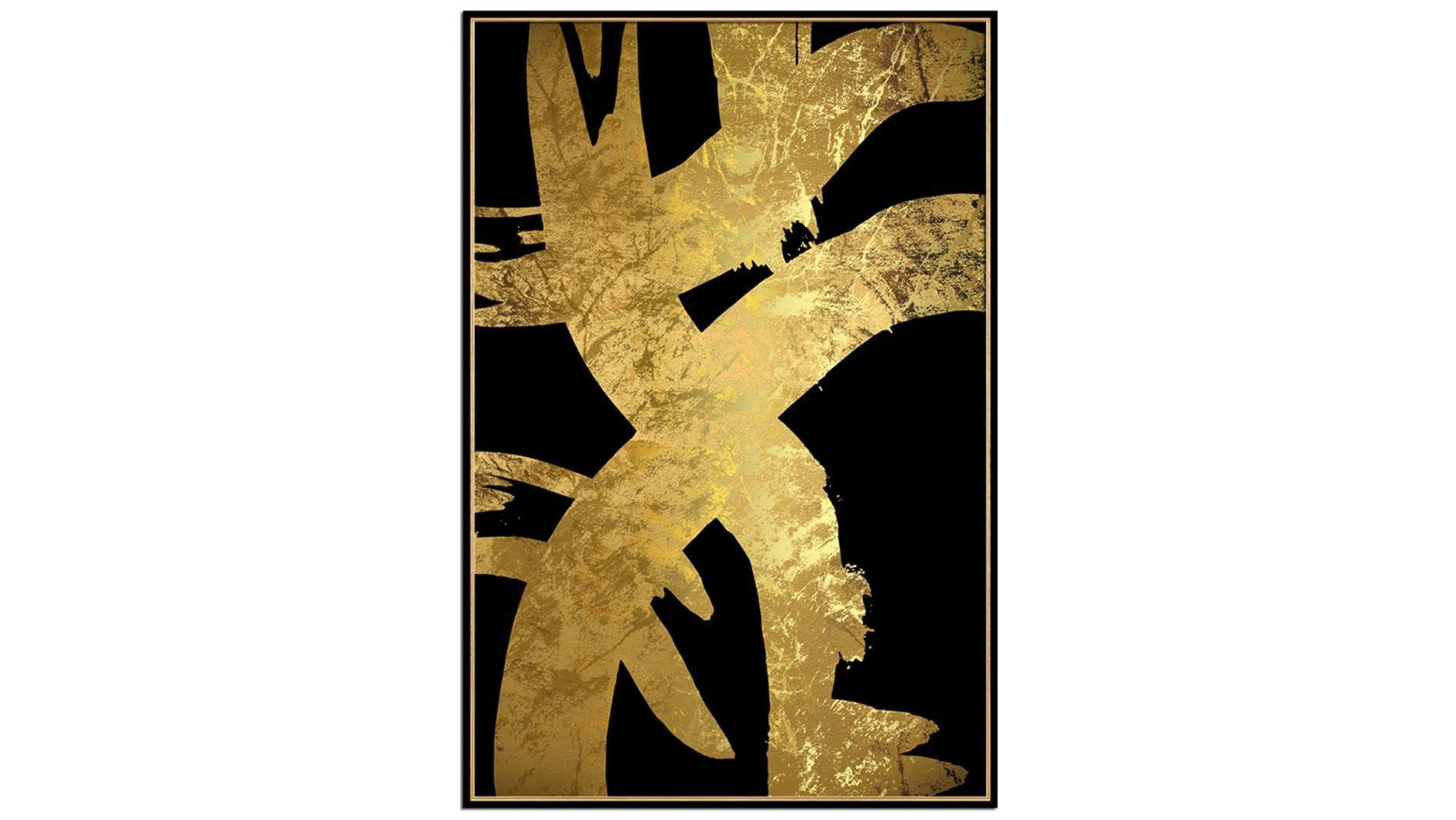Постер на стену черно-золотая абстракция-2 60х80см