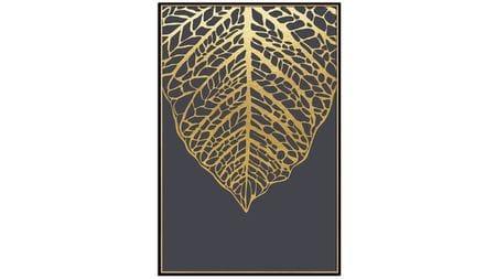 Постер на стену Золотой лист на черном 60х80см