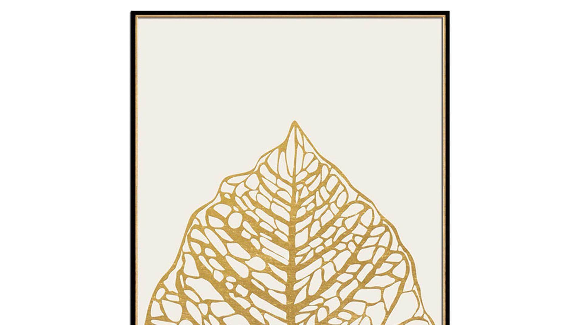 Постер на стену золотой лист на белом 60х80см