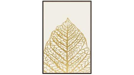 Постер на стену золотой лист на белом 60*80см.