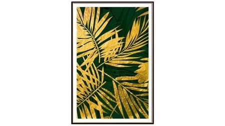 Постер для интерьера золотые листья пальмы-3 60х80см
