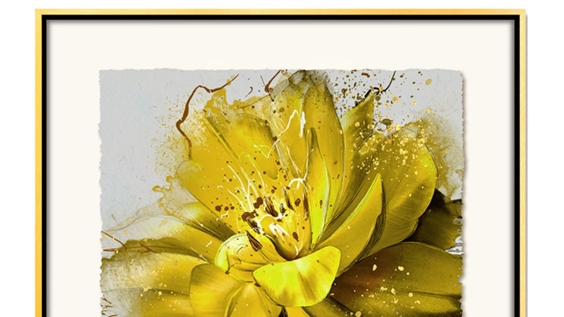 Постер на стену красивый желтый цветок 80х80см