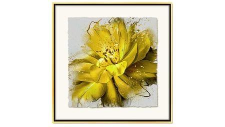 Постер на стену красивый желтый цветок 80*80см.