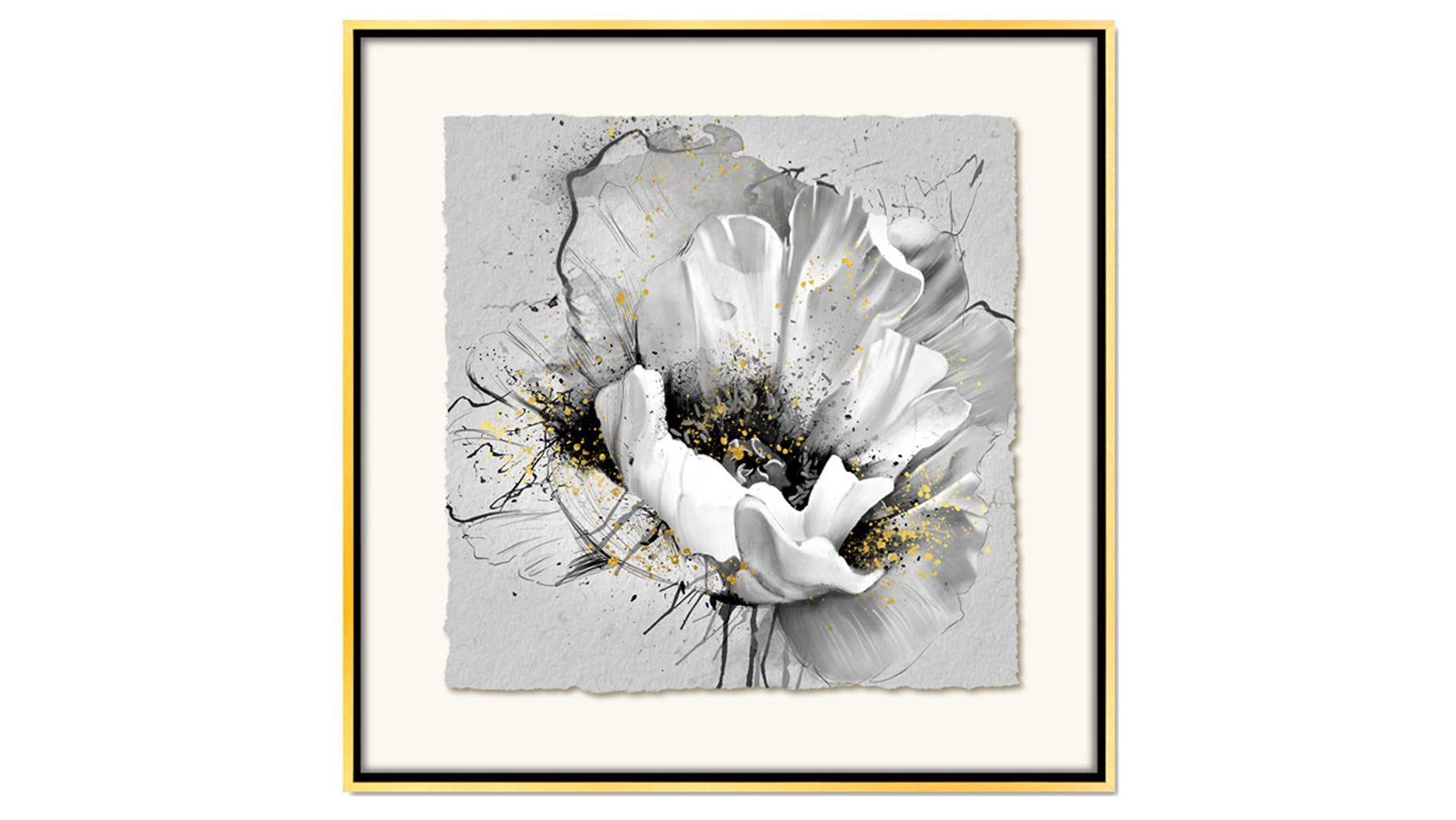 Постер для интерьера красивый белый цветок 80х80см