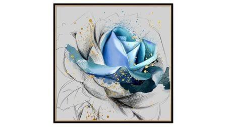 Постер на стену синяя роза 80х80см