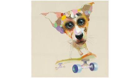 Картина маслом Собака и скейт