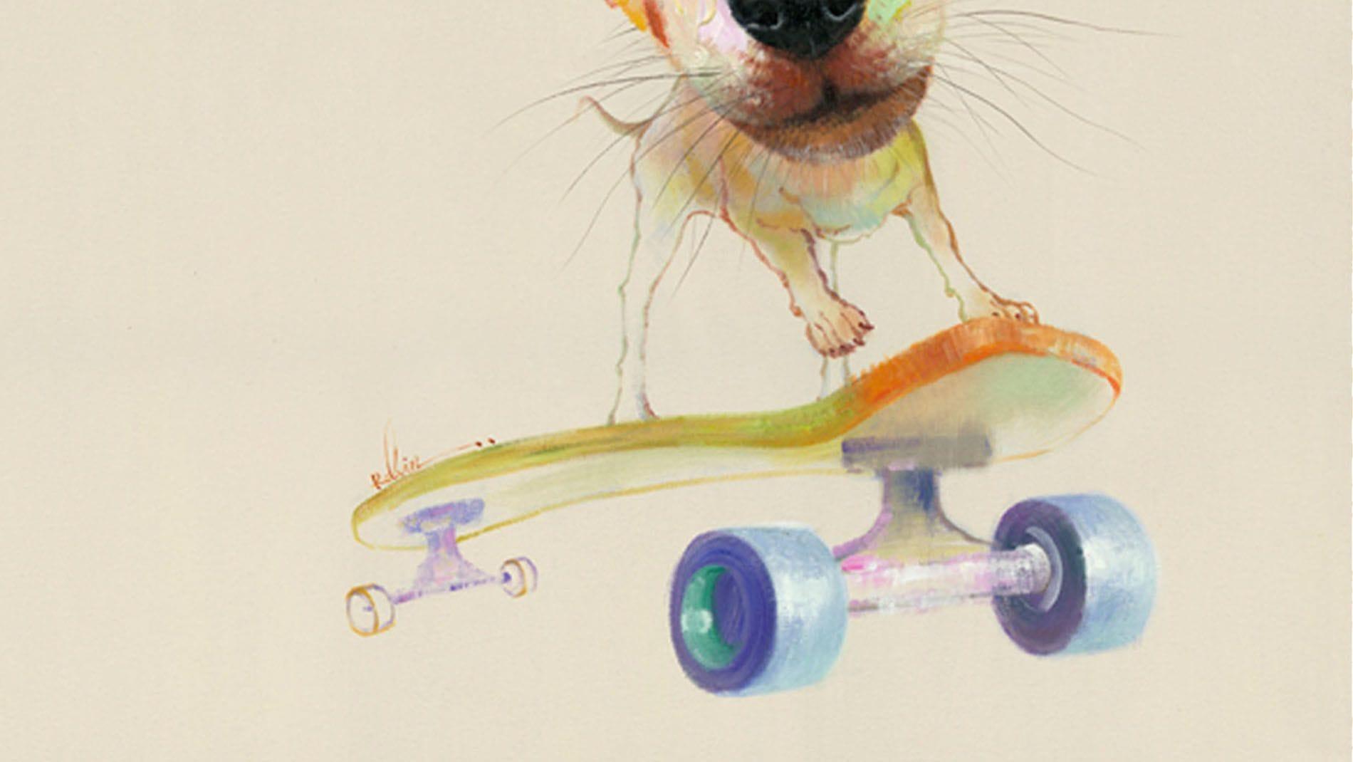 "Картина маслом "" Собака и скейт """