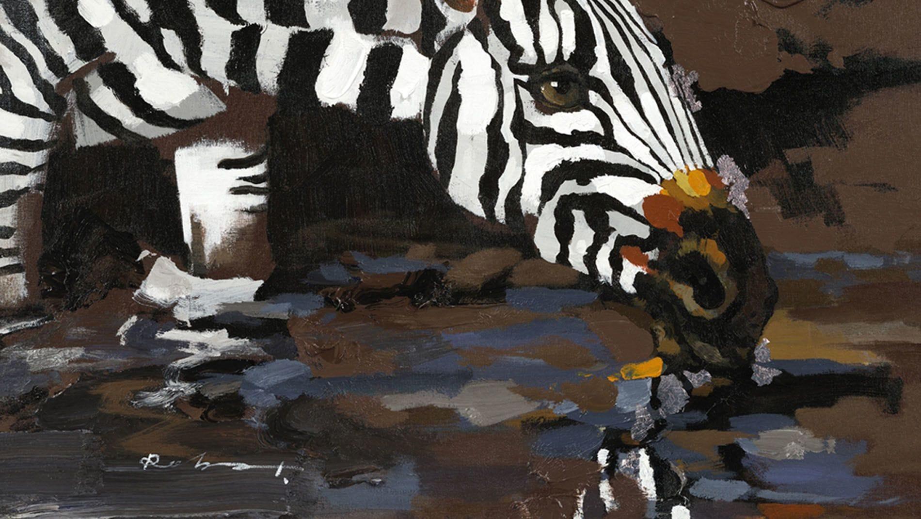 Картина маслом Зебры у водопоя