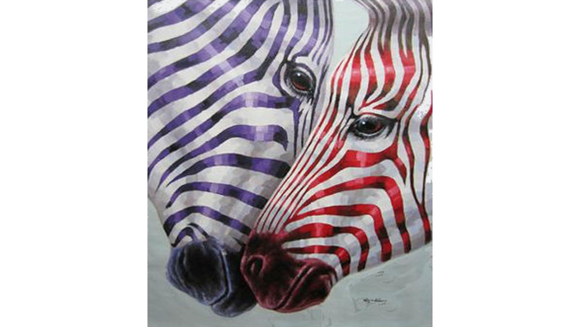 """Картина маслом """" Разноцветная зебра """""""