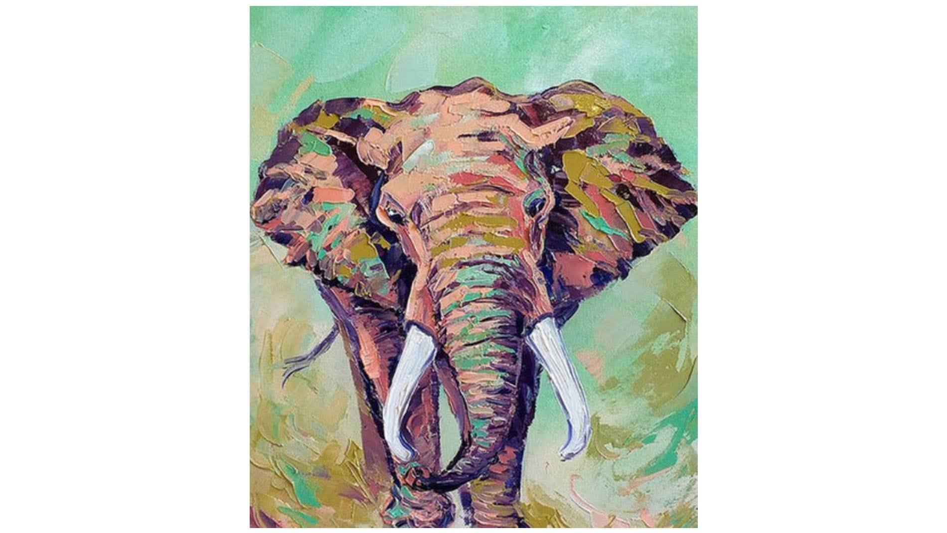 """Картина маслом """" Слон """""""