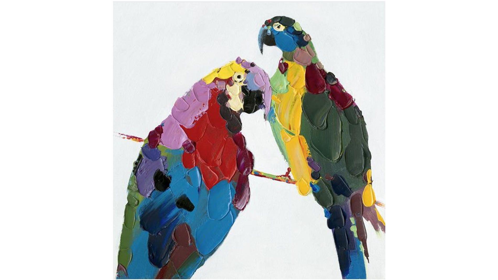"""Картина маслом """" Доминиканские Попугаи """""""