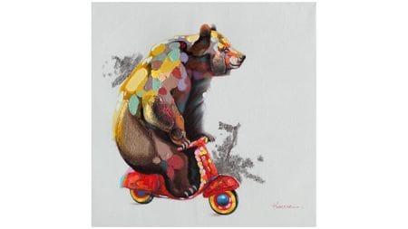 Картина маслом Мишка на мопеде