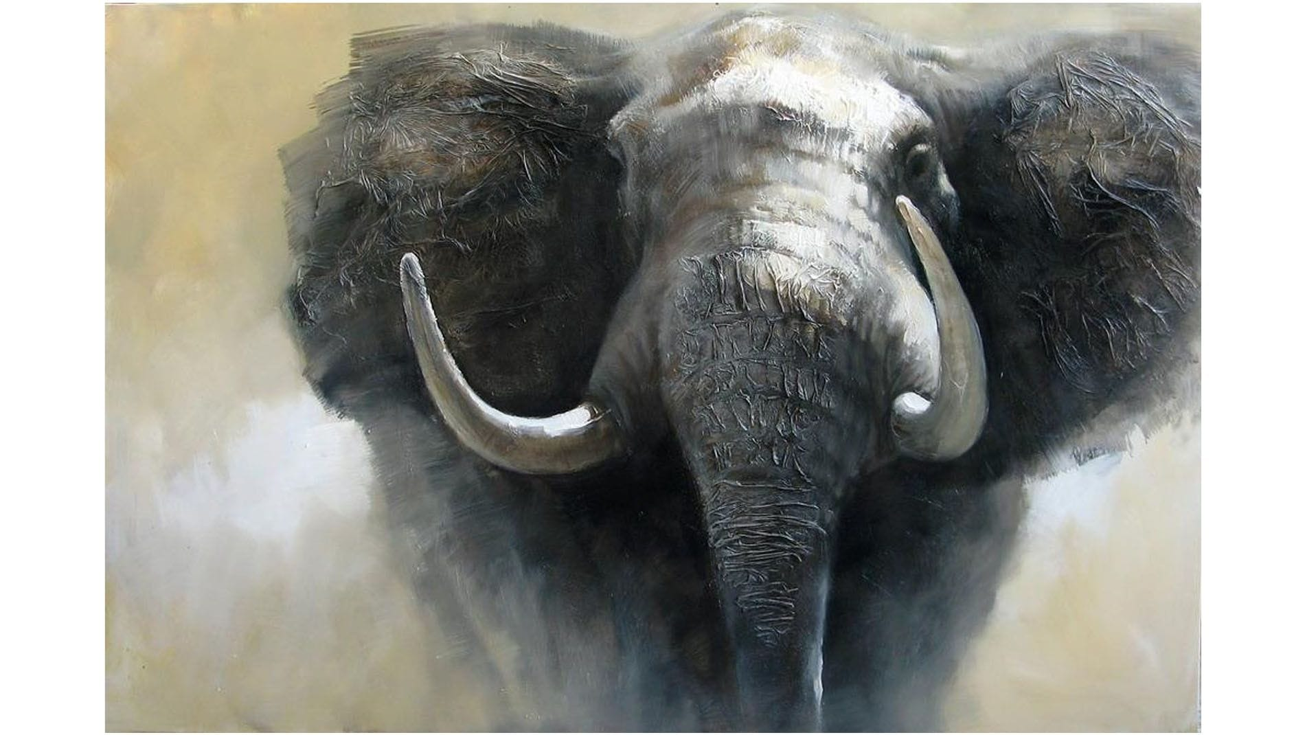"""Картина маслом """" Слон -2 """""""