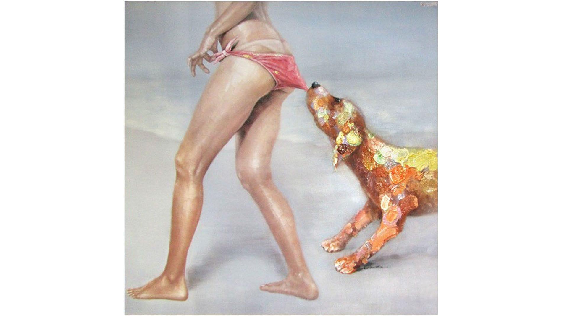 """Картина маслом """" Собака на пляже """""""