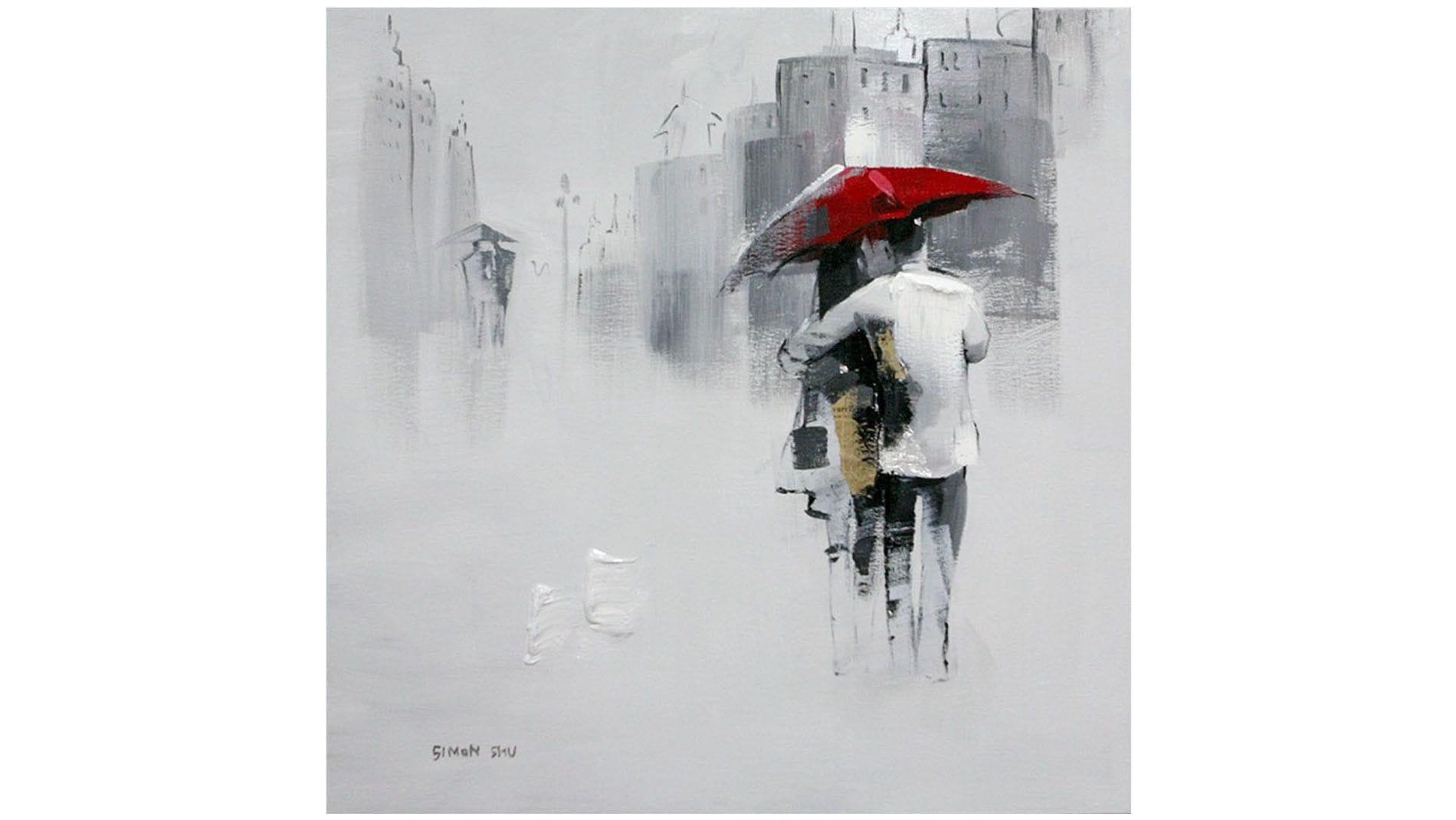"""Картина маслом """" Поцелуй под зонтом """""""