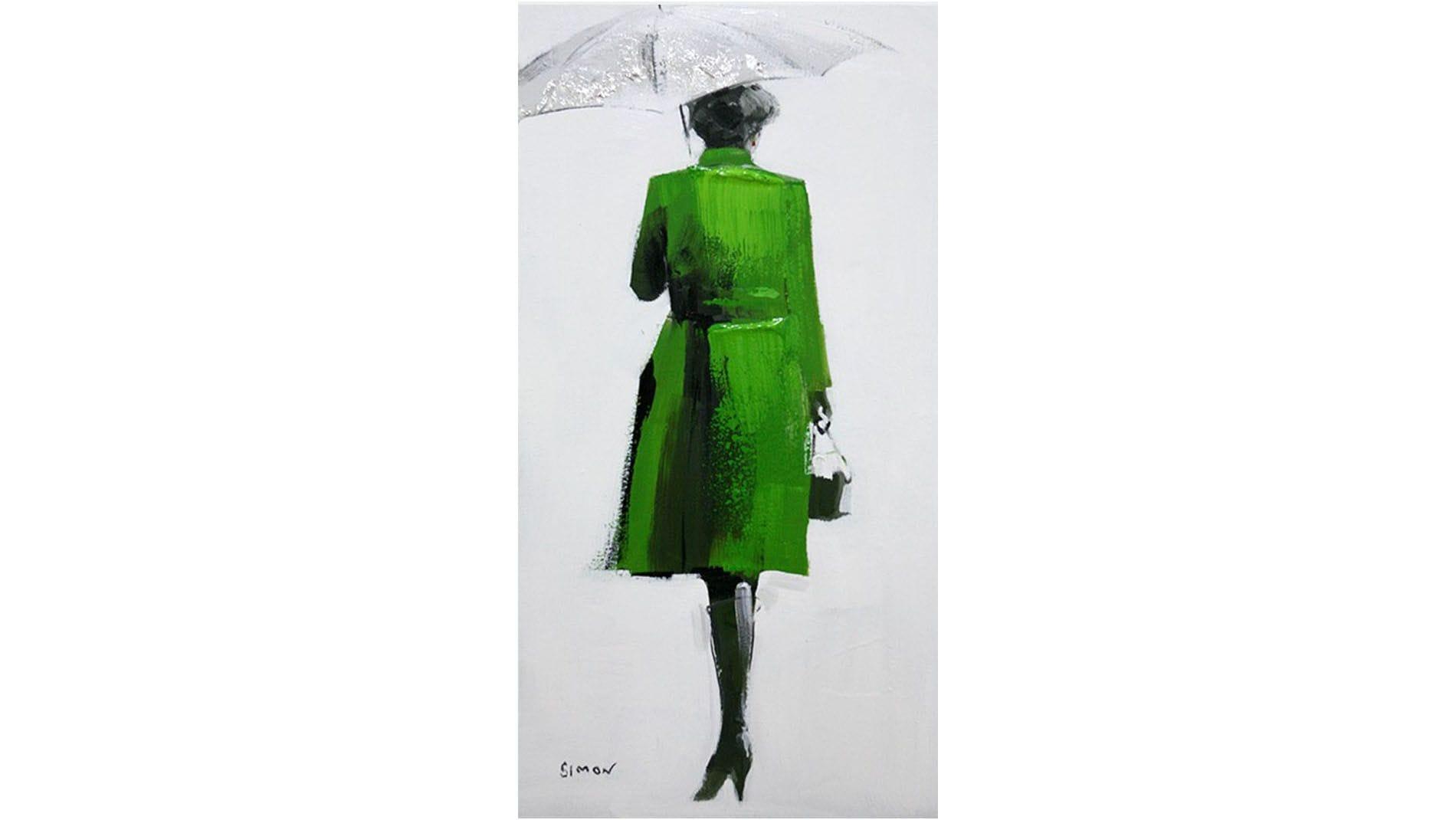 """Картина маслом """" Женщина под зонтом """""""