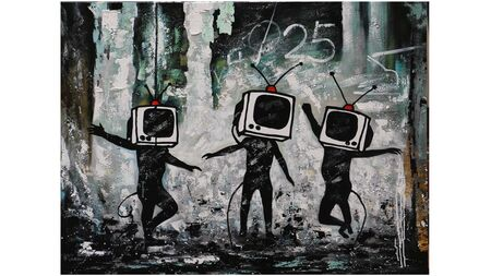 Картина на холсте танцующие телевизоры