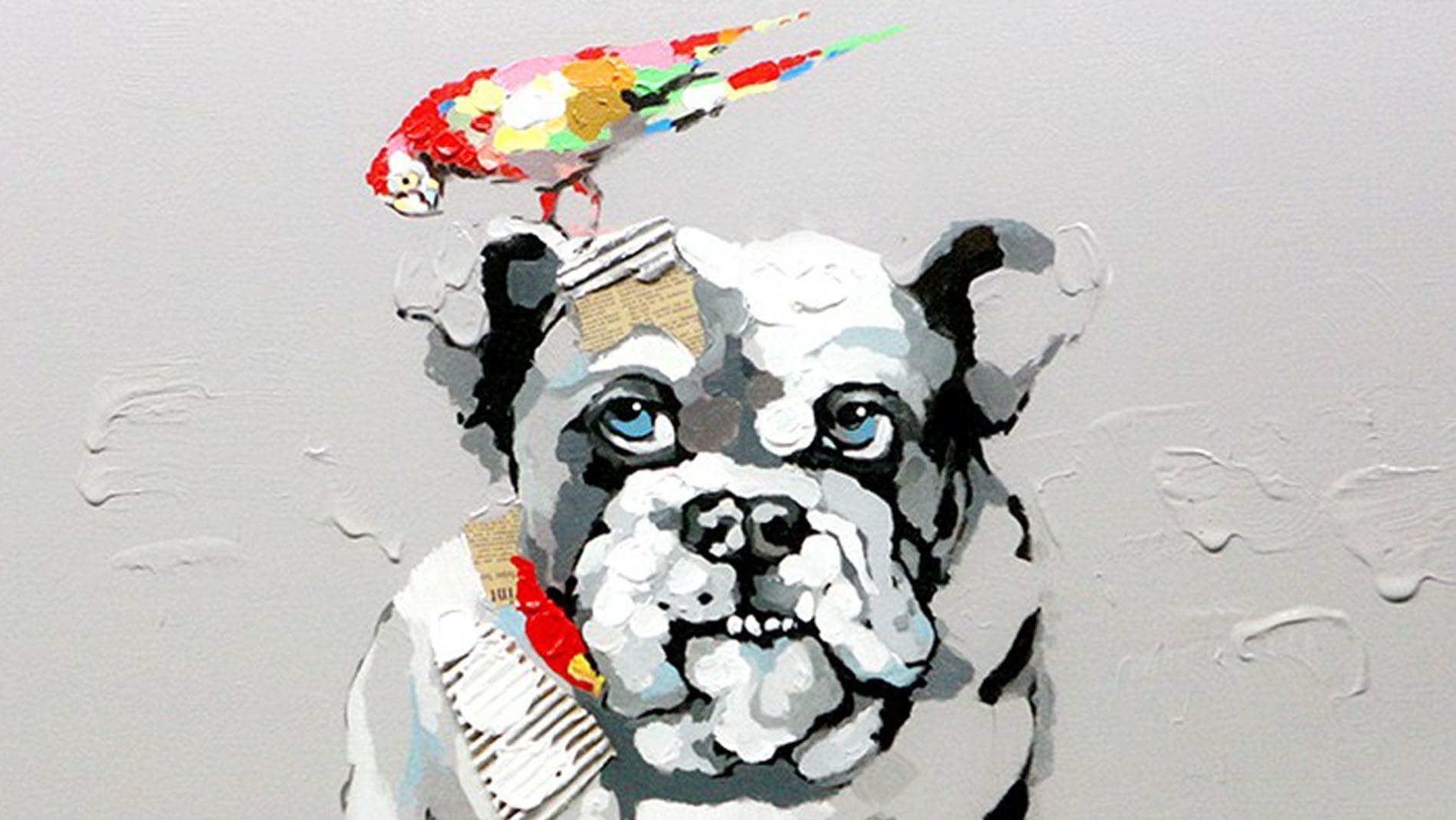 """Картина маслом """" Собака и попугай """""""