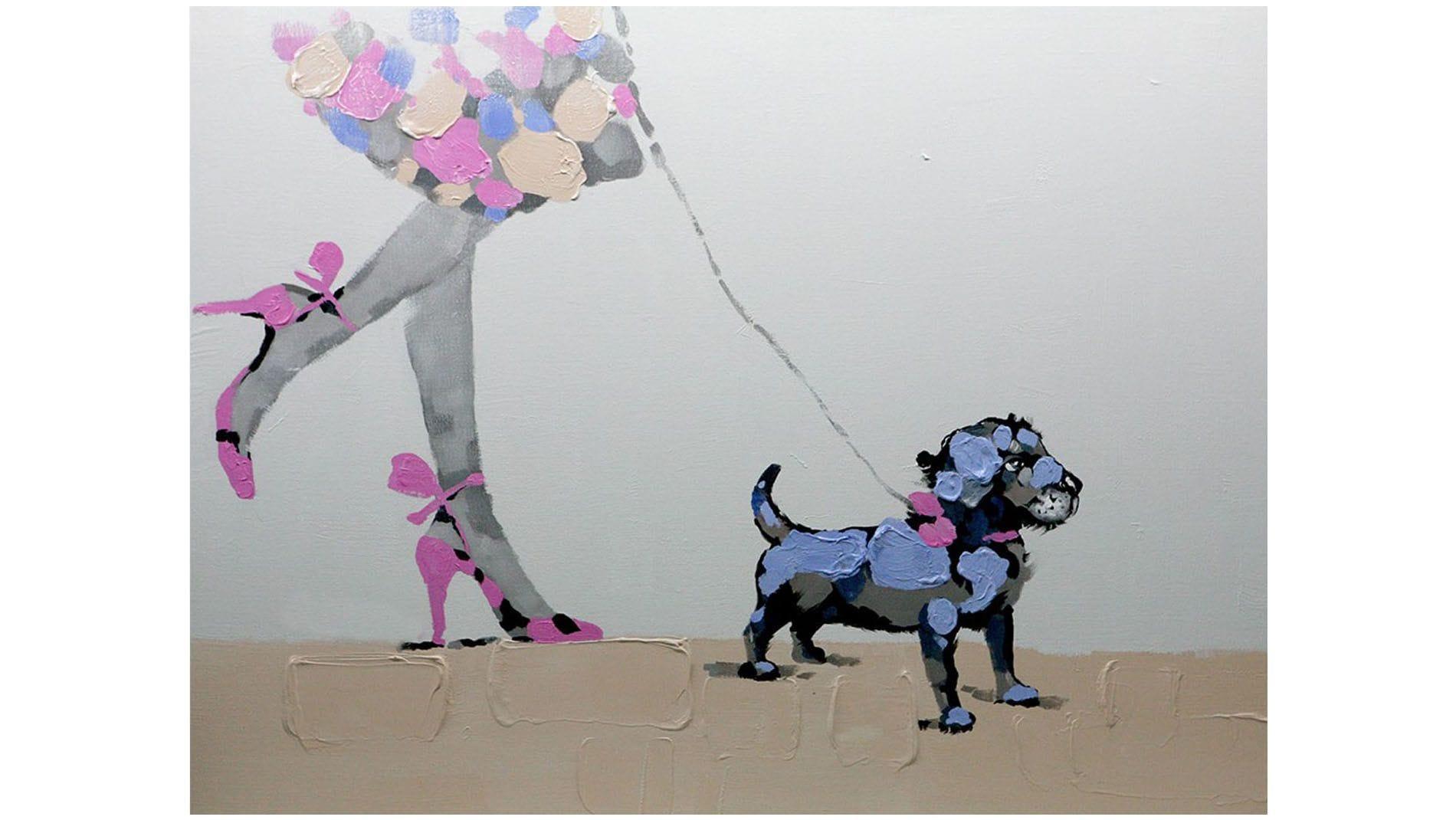 """Картина маслом """" Девочка и собака """""""