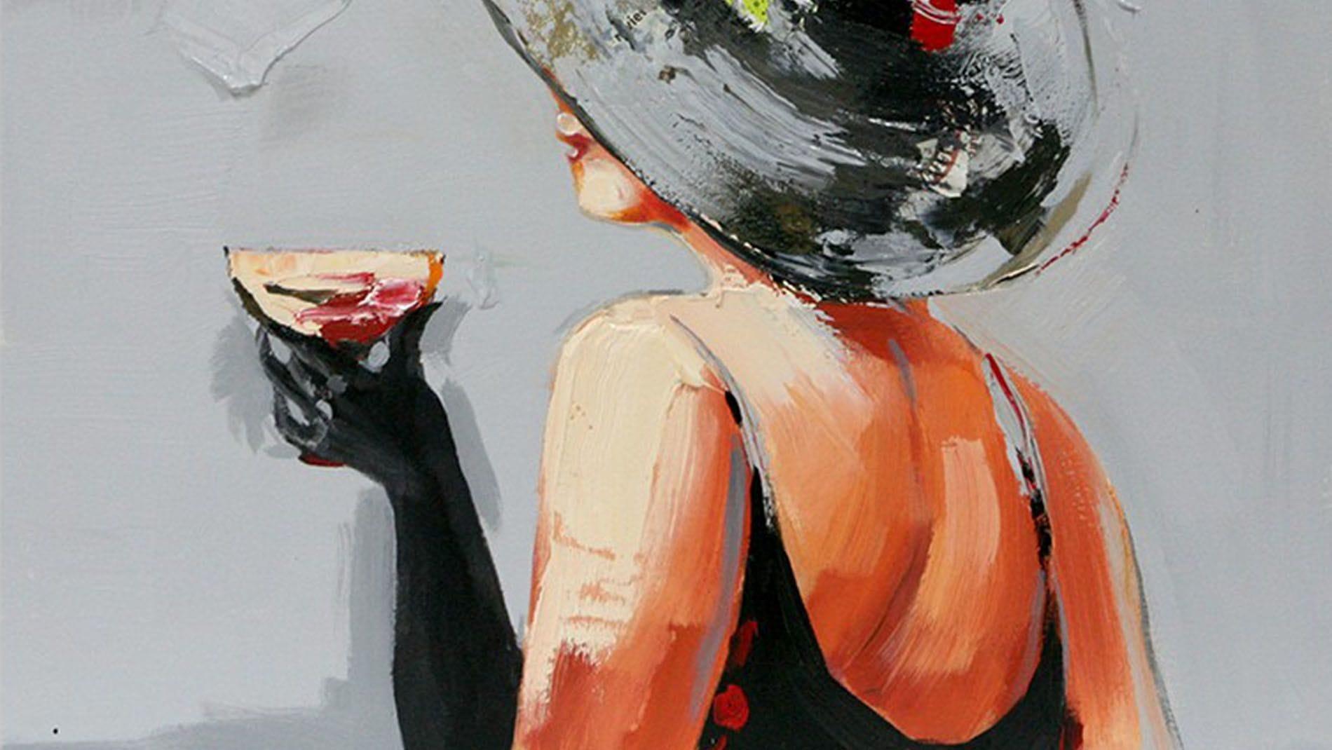 "Картина маслом "" Мадам со стаканом """