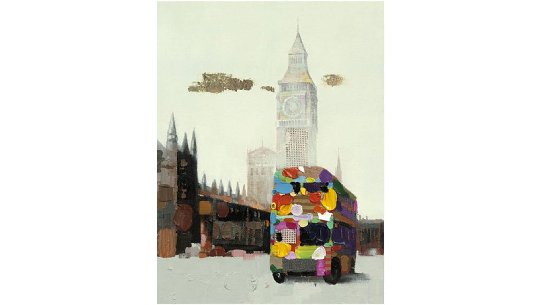 """Картина маслом """" Лондонский автобус """""""