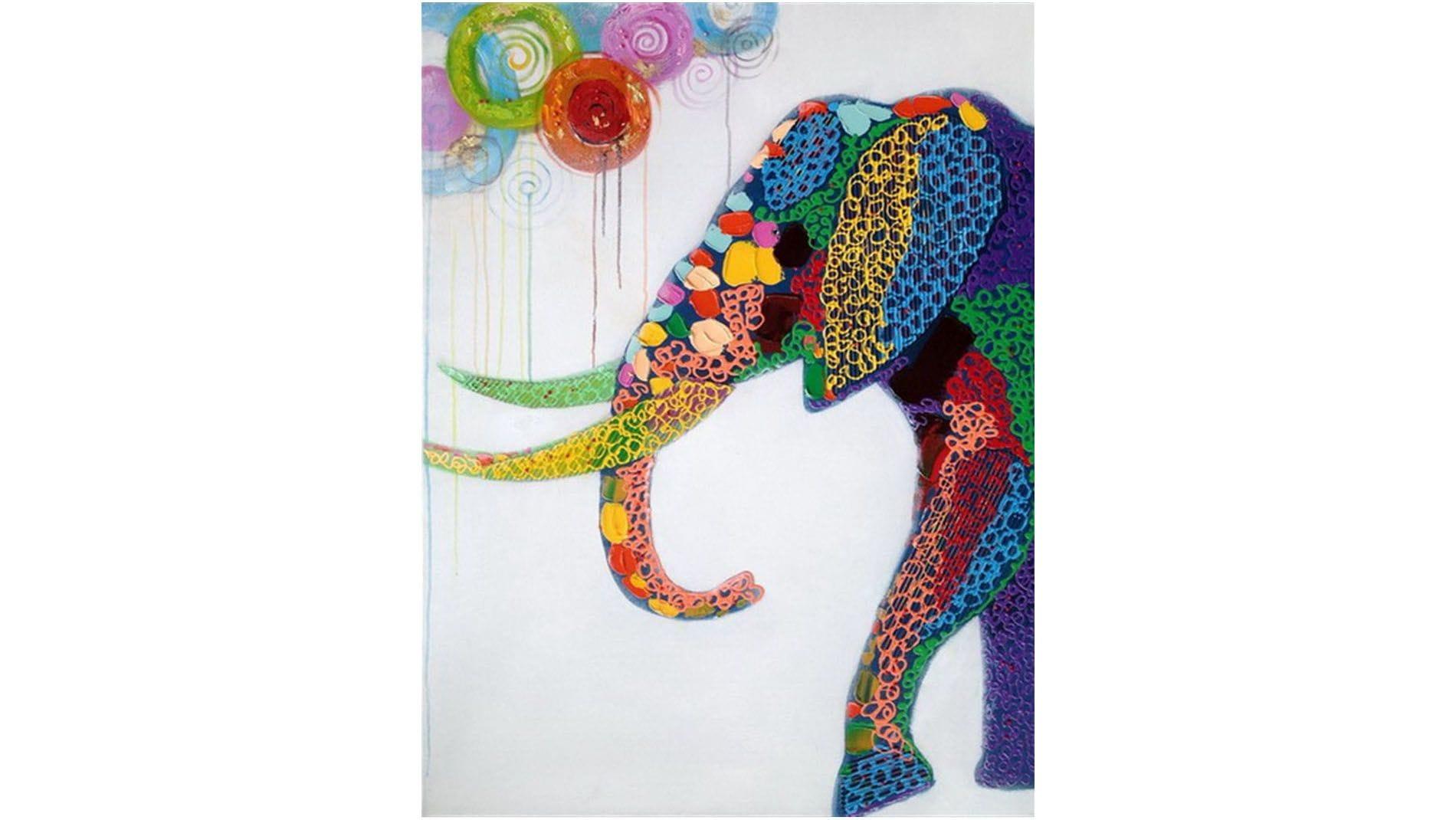 Картина маслом Радужный слон