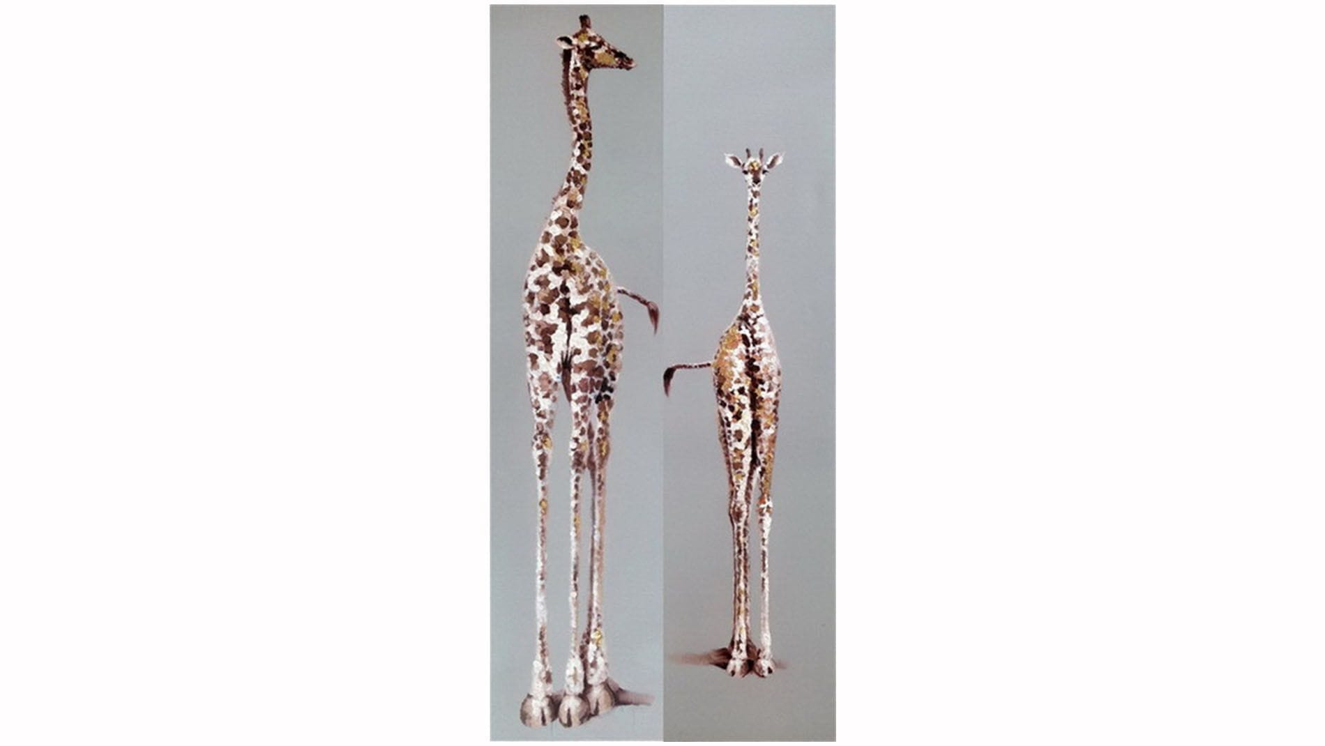 """Картина маслом """" Два жирафа """""""